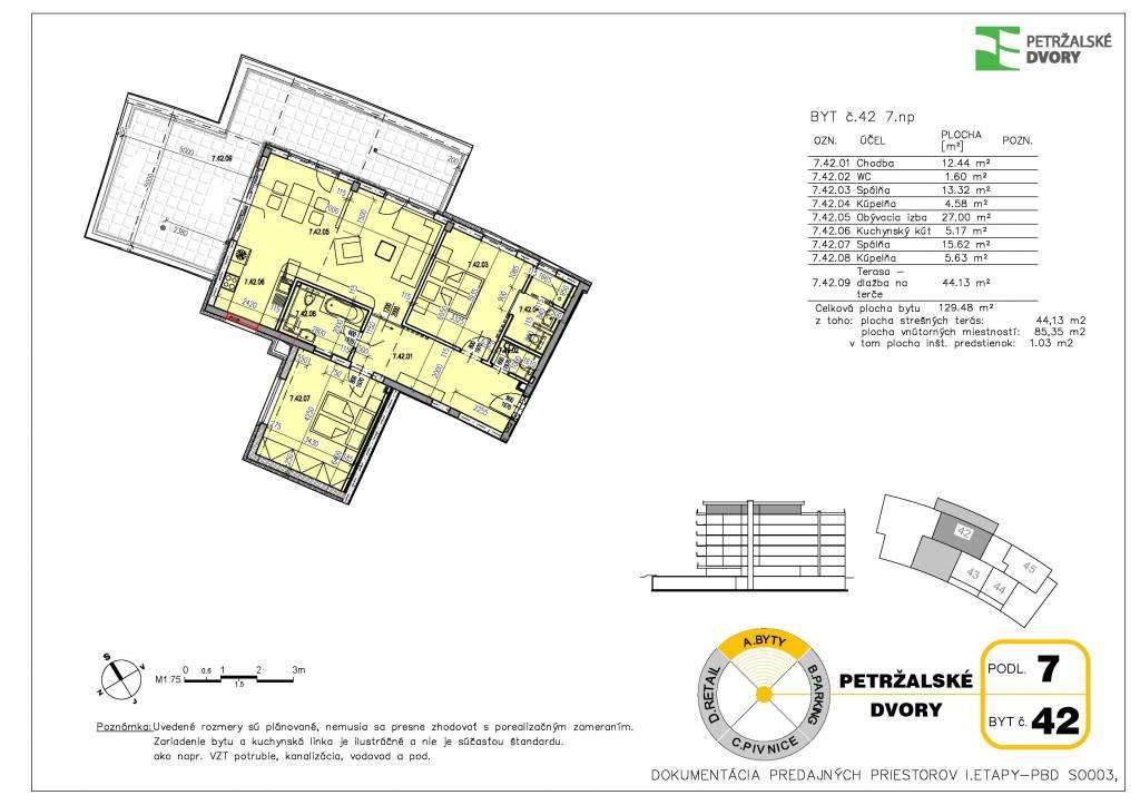 Predaj 3 izb. bytu v novostavbe Petržálske dvory s terasou