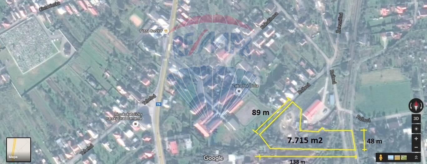 Pozemok na predaj vhodný na IBV, 7715 m2, všetky IS, Čemerné, Ružová, Vranov nad Topľou