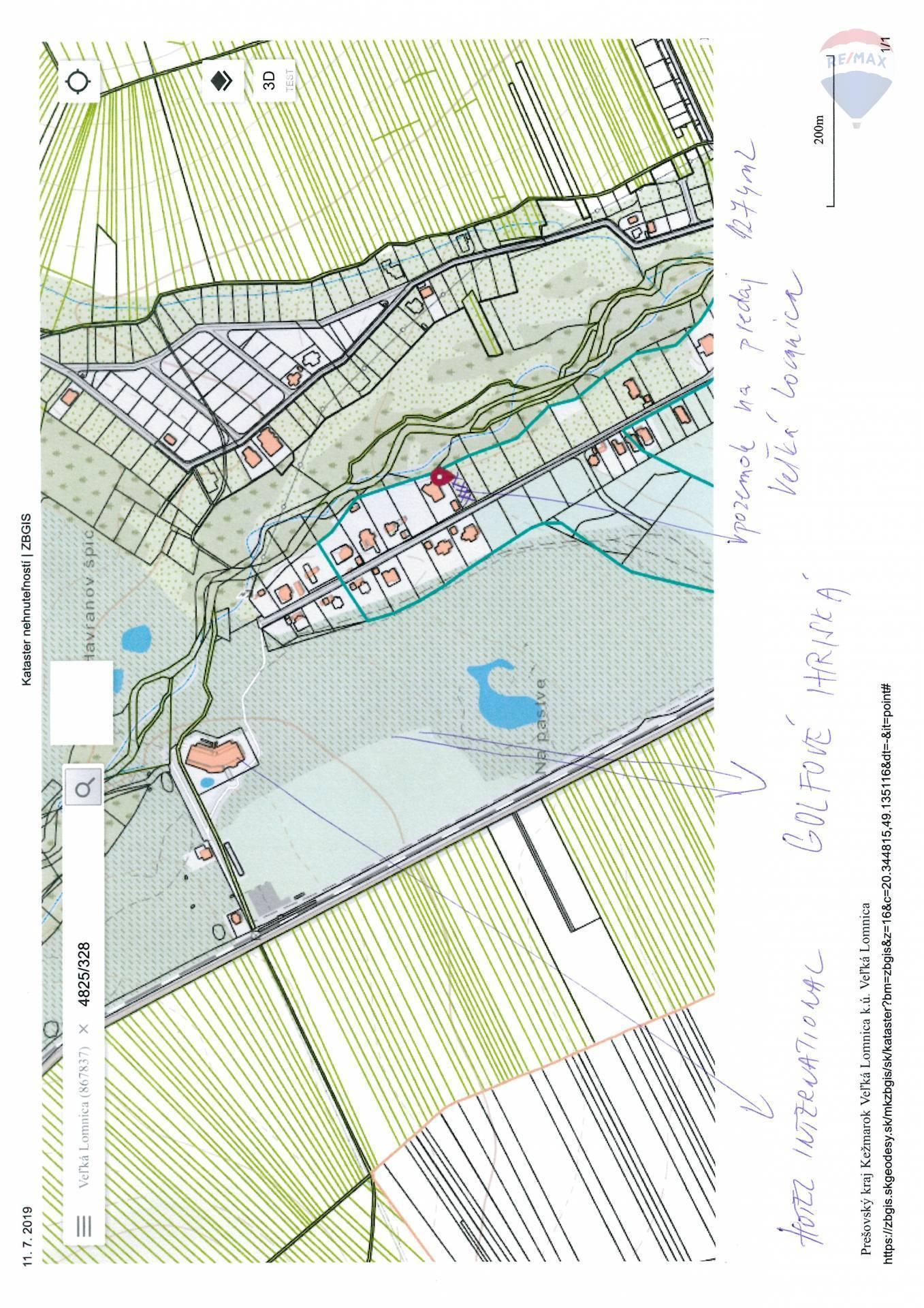 Predaj pozemku 1274 m2, Veľká Lomnica - umiestnenie  pozemku1274 m2 Veľká Lomnica