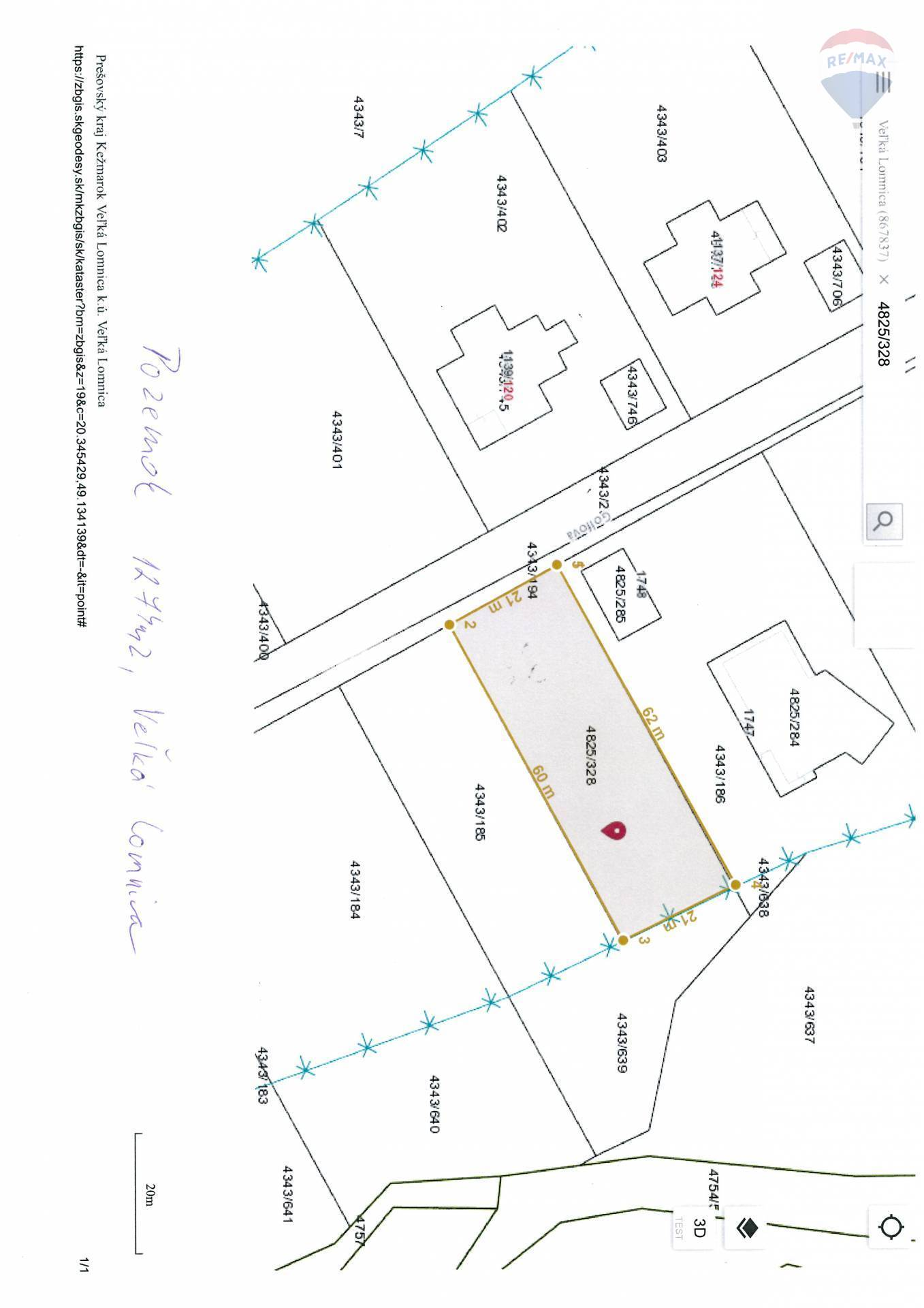 Predaj pozemku 1274 m2, Veľká Lomnica - rozmer pozemku 1274 m2 Veľká Lomnica