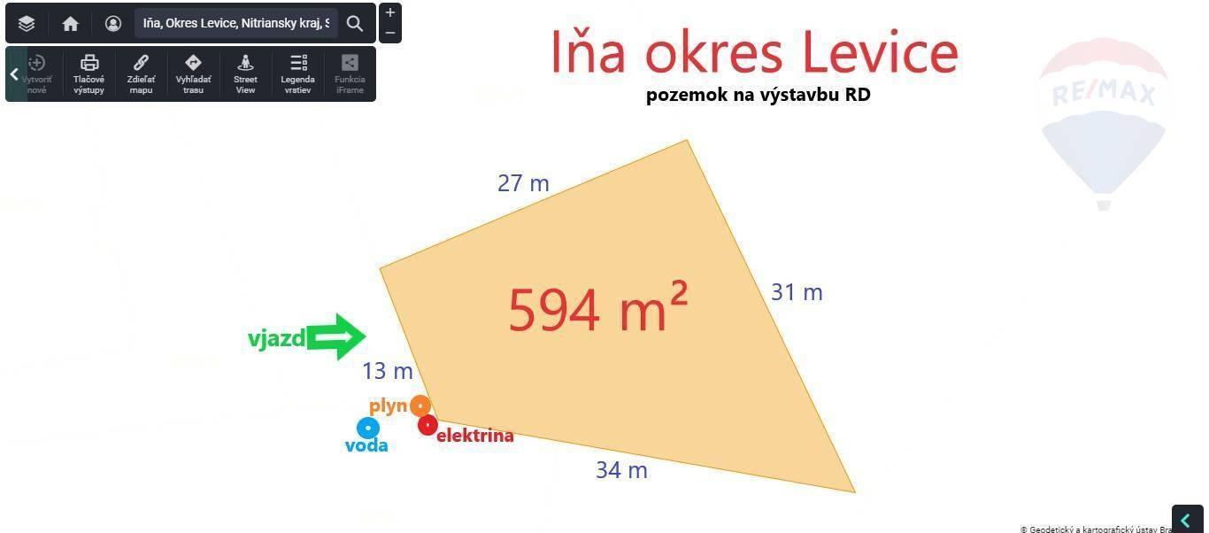 Na predaj stavebný pozemok 594 m² – Iňa okres Levice