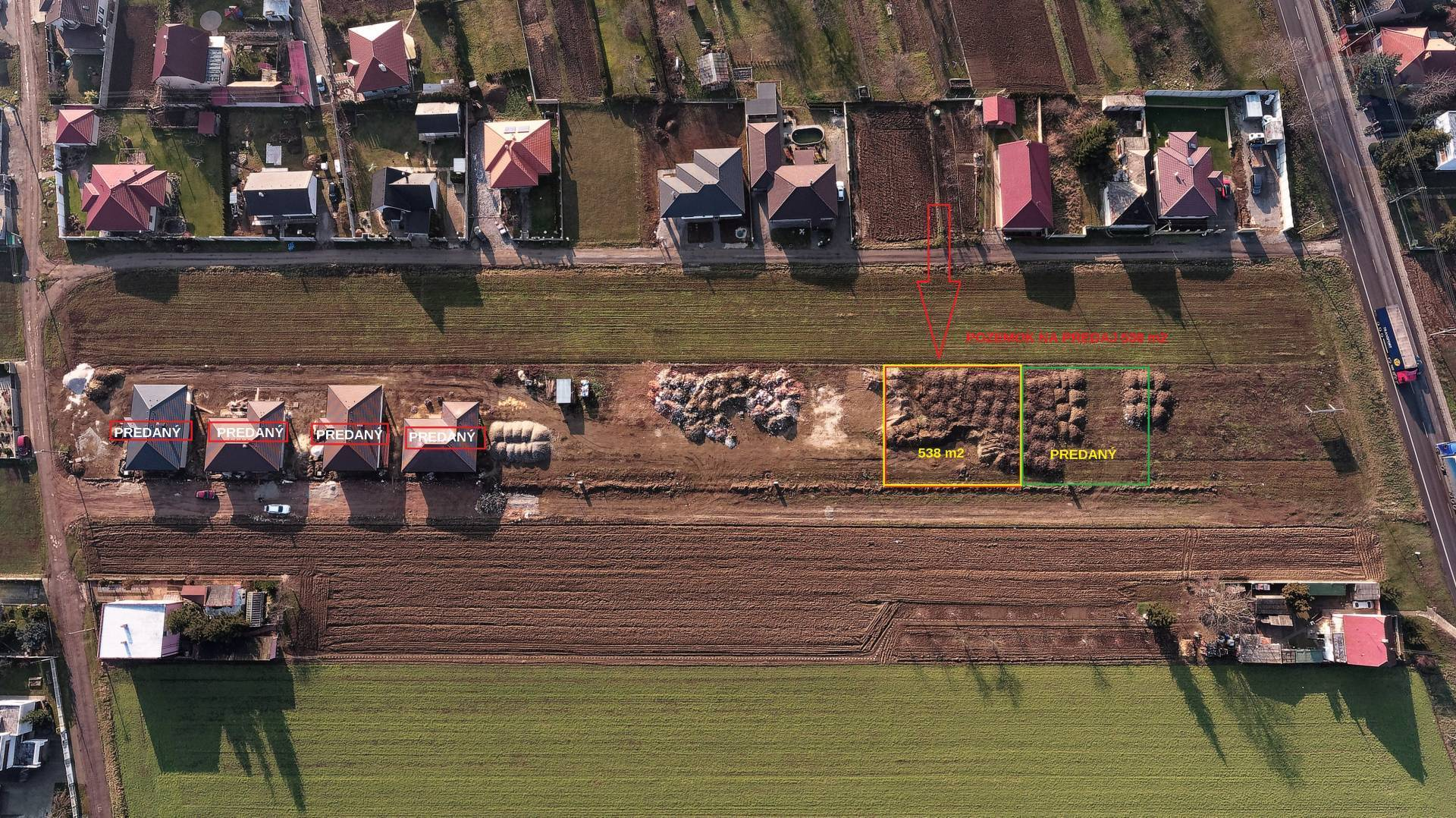 Predaj pozemku 538 m2, Chrabrany