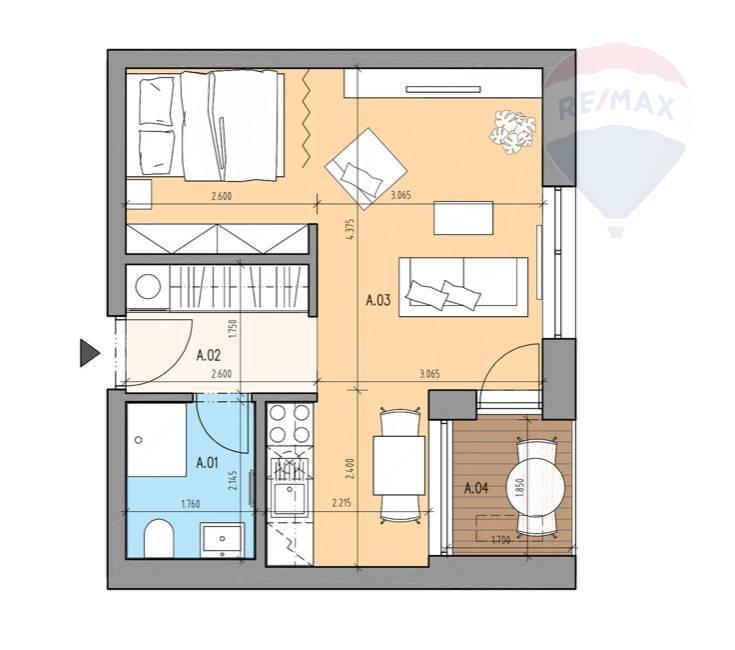 Prenájom bytu (2 izbový) 39 m2, Bratislava - Devínska Nová Ves - ŠTÝLOVÝ A MODERNÝ BYT V NOVOSTAVBE - EŠTE NEOBÝVANÝ - ZARIADENÝ - Bory Bývanie - Top ponuka - Pôdorys