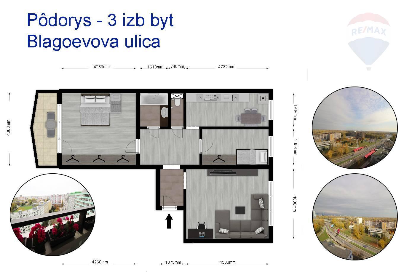 Predaj bytu (3 izbový) 73 m2, Bratislava - Petržalka -