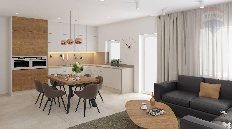Predaj domu 87 m2, Kyselica - vizualizácia kuchyňa a obývačka