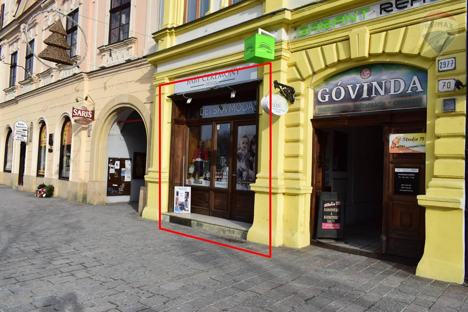 Prenájom obchodného priestoru 120 m2 v Prešove na Hlavnej ulici