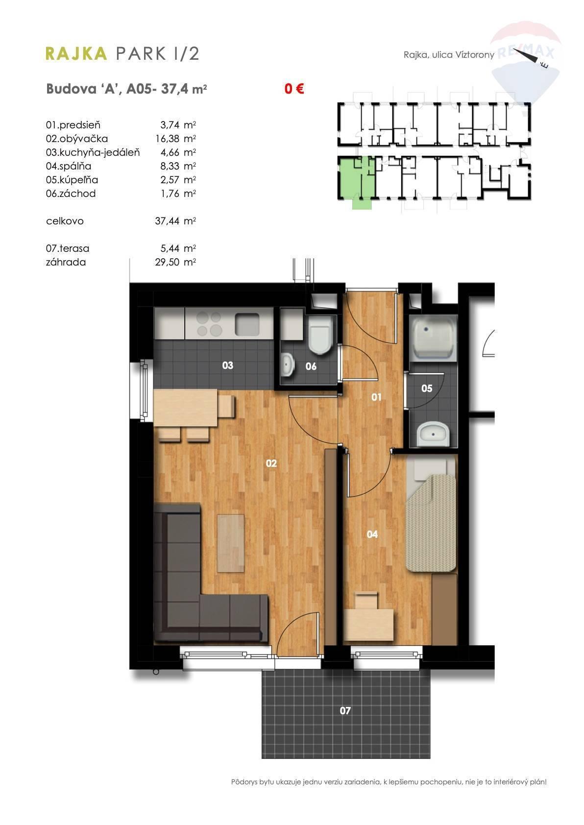 Predaj 1,5-izbový byt spredzáhradkou, novostavba
