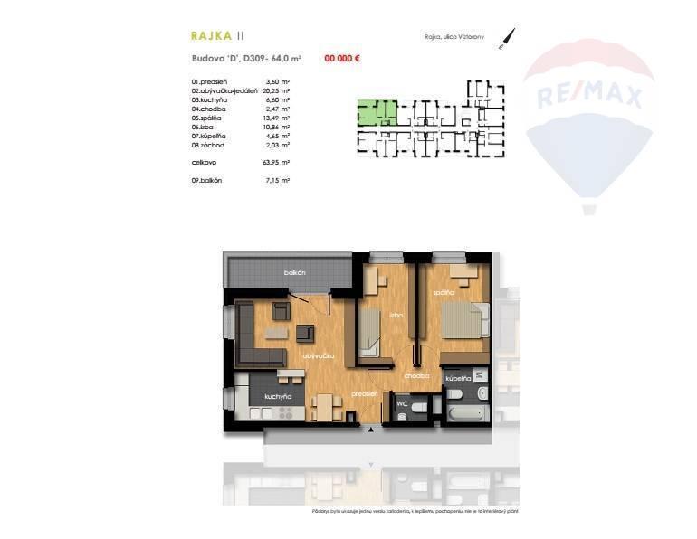 Predaj 3-izbový byt sbalkonom, novostavba