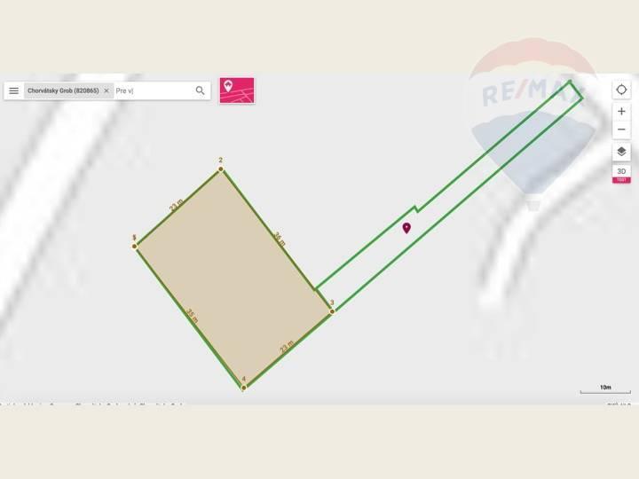 Predaj pozemku 824 m2, Chorvátsky Grob - Katastralna mapa - pohlad na pozemok a pristupovu cestu