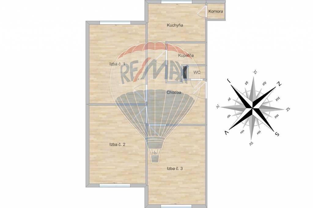 Prenájom bytu (3 izbový) 75 m2, Žilina -