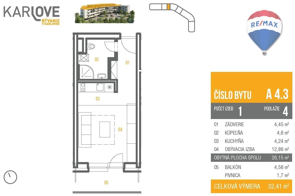 Predaj bytu (1 izbový) 32 m2, Bratislava - Karlova Ves - pôdorys